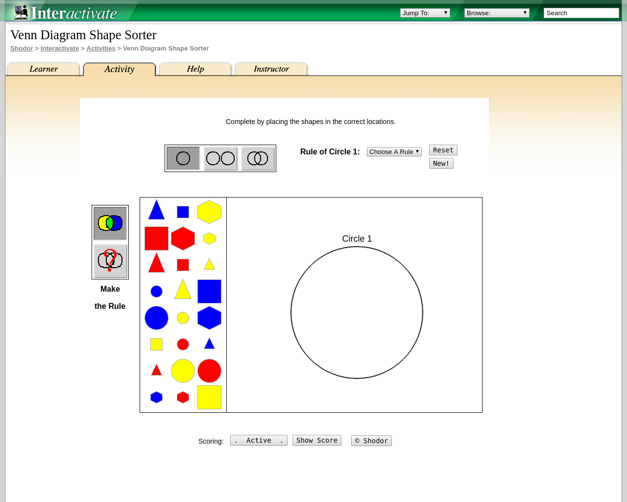 Venn Diagram - shape sorting