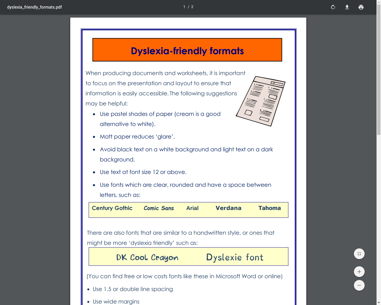 Dyslexia friendly formatting for the classroom