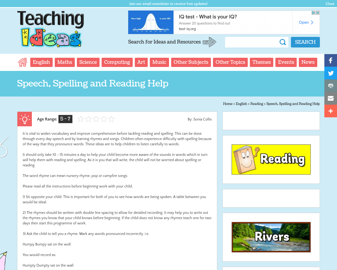 Speech, Spelling and Reading Help