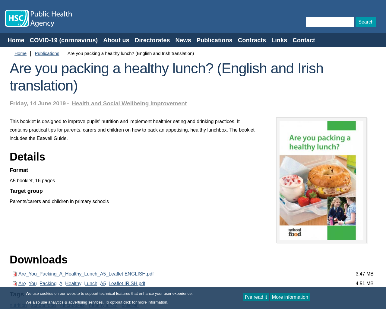 Healthy breaks for Schools and Are you packing a healthy lunch?