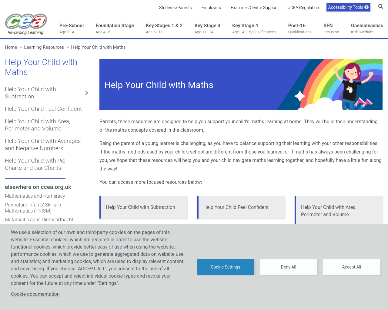CCEA Learning Resources: Help Your Child with Maths