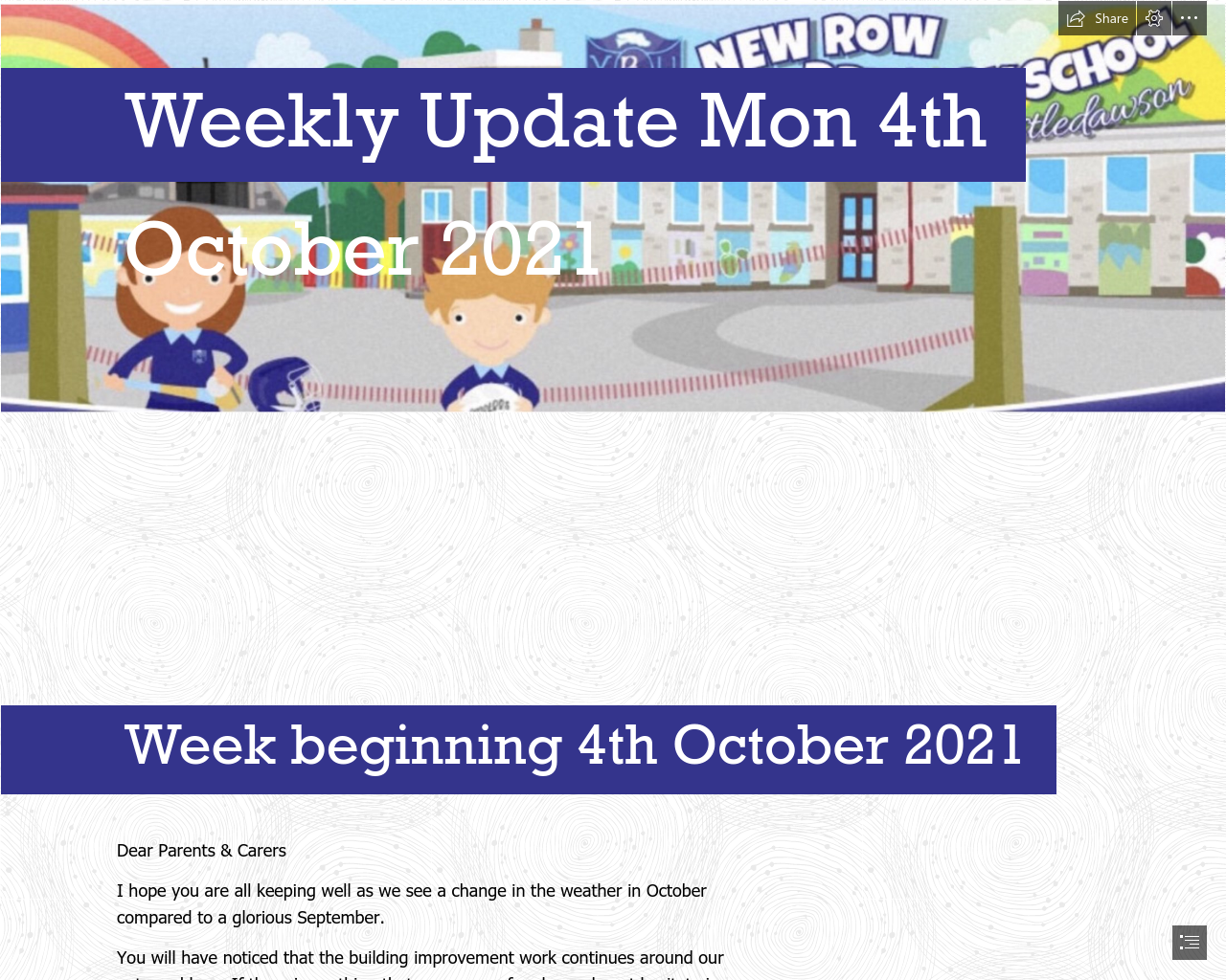 Weekly Update 4th October 2021
