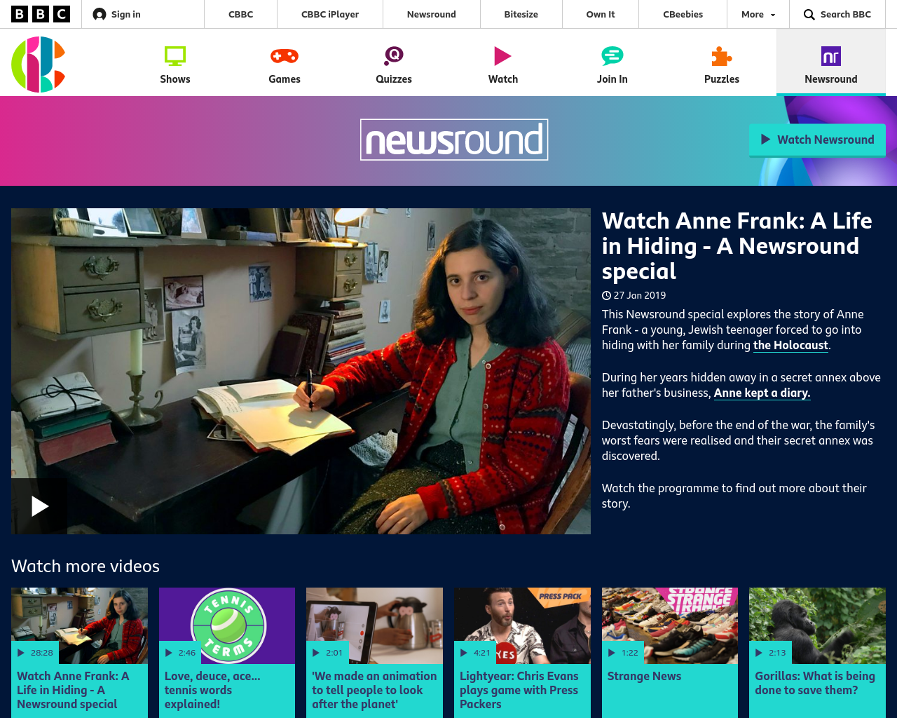 Newsround Special on Anne Frank