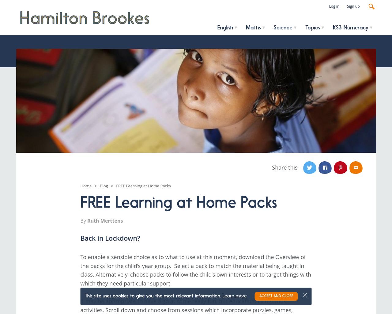 Hamilton Trust's Free Maths & Literacy Packs