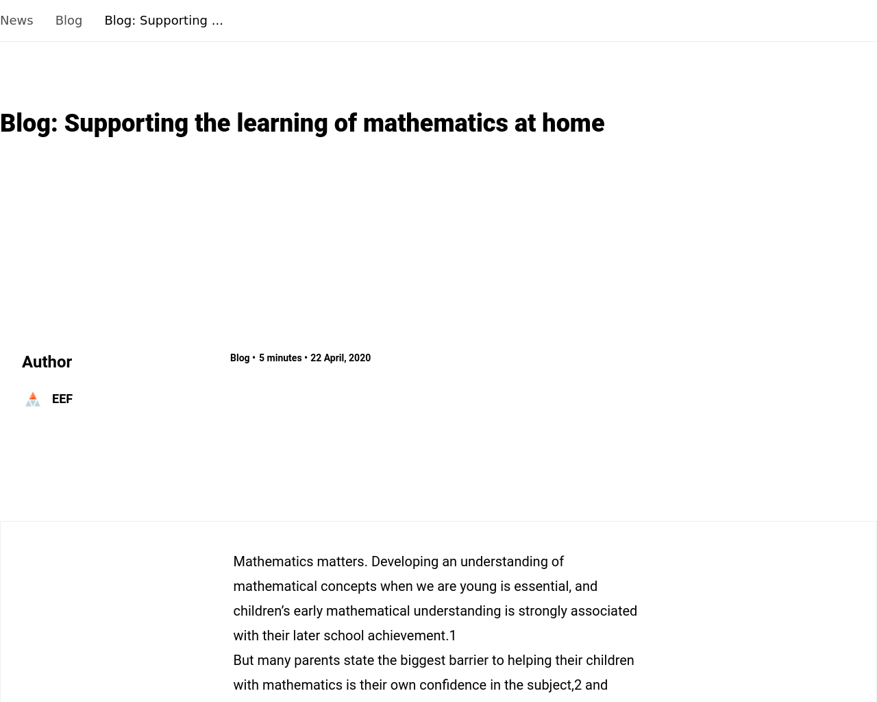 EEF Supporting Maths at Home