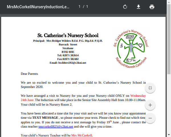 Mrs McCorkell Nursery Induction Letter 2020 Group A