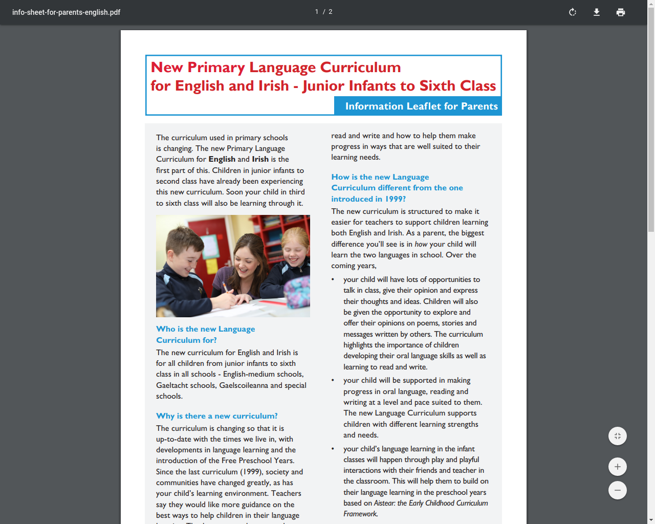 New Language Language Curriculum for English and Irish-Junior Infants to Sixth Class