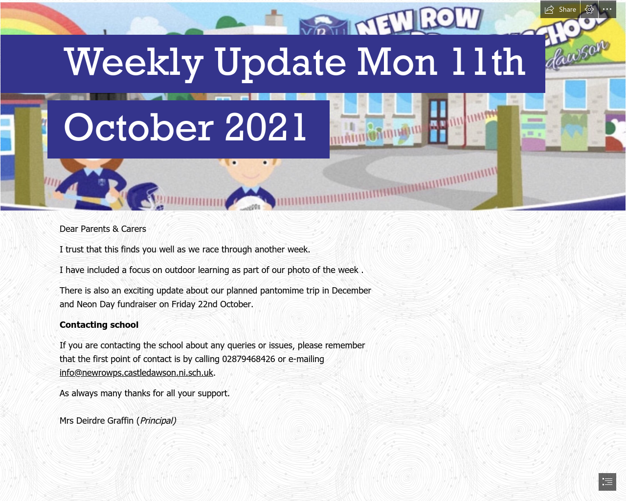 Weekly Update 11th October 2021