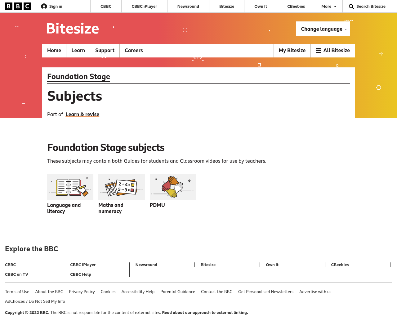 BBC Foundation Stage website