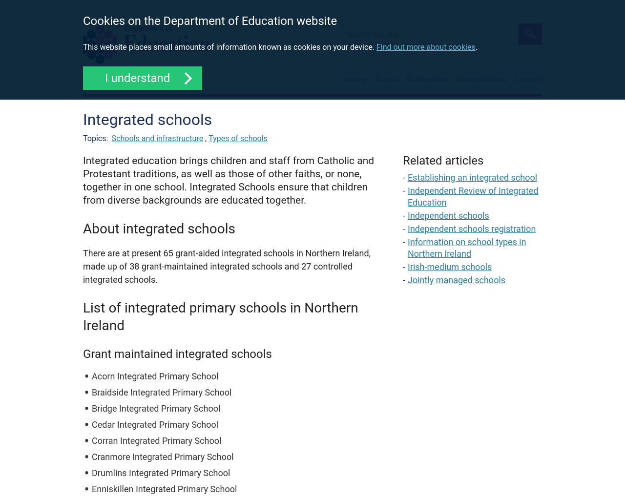 DENI Information on Integrated Schools