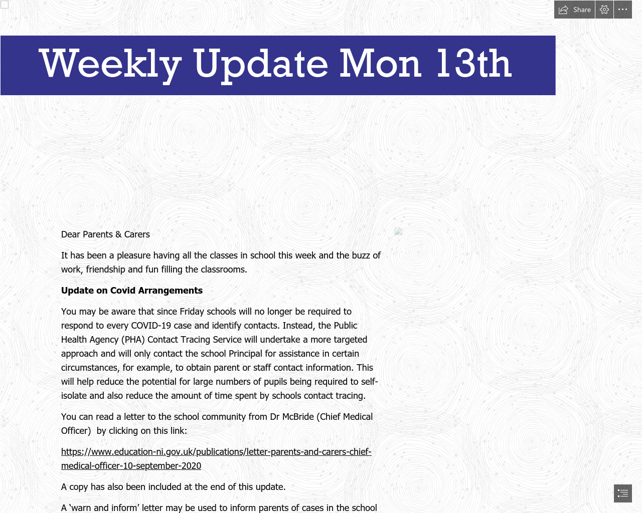 Weekly Update 13th September 2021