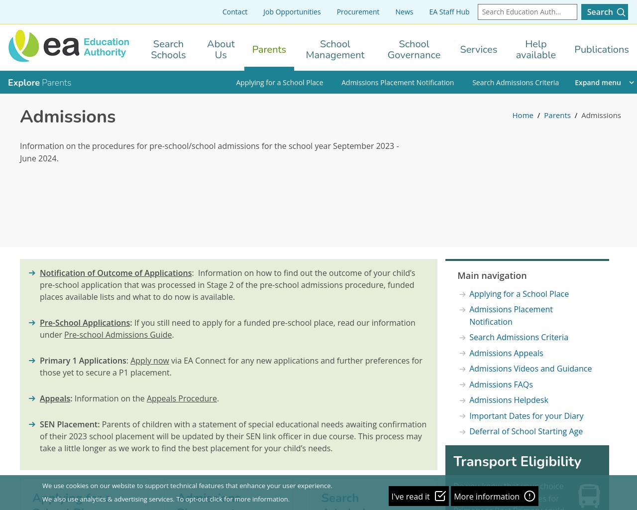 eani admissions website