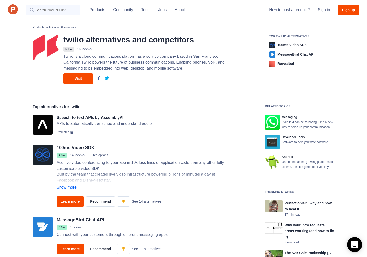 3 Alternatives to Twilio Video for Android, iPhone | Product Hunt