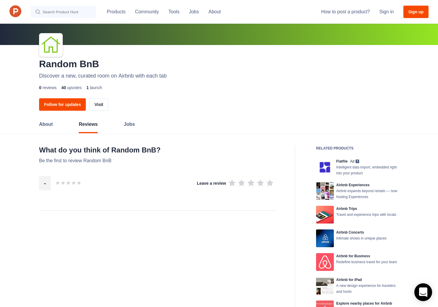 Random BnB Reviews - Pros, Cons and Rating | Product Hunt