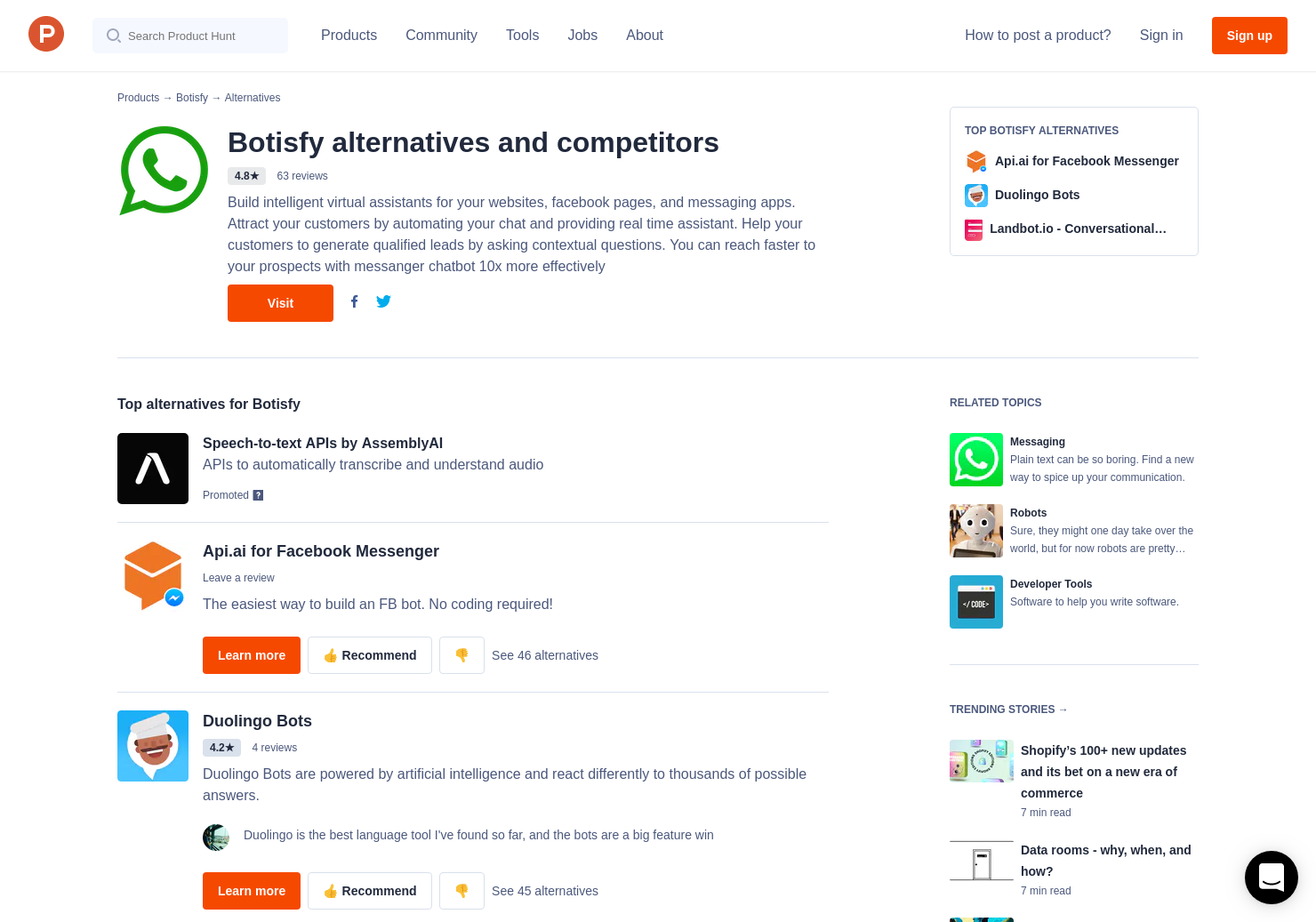 20 Alternatives to Botsify Conversational Forms | Product Hunt