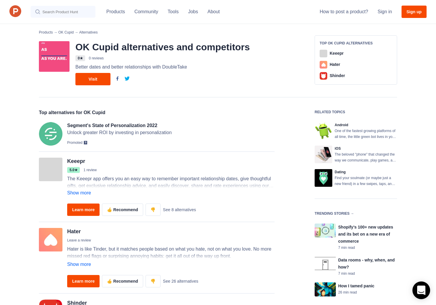 4 Alternatives to OK Cupid for Android, iPhone | Product Hunt