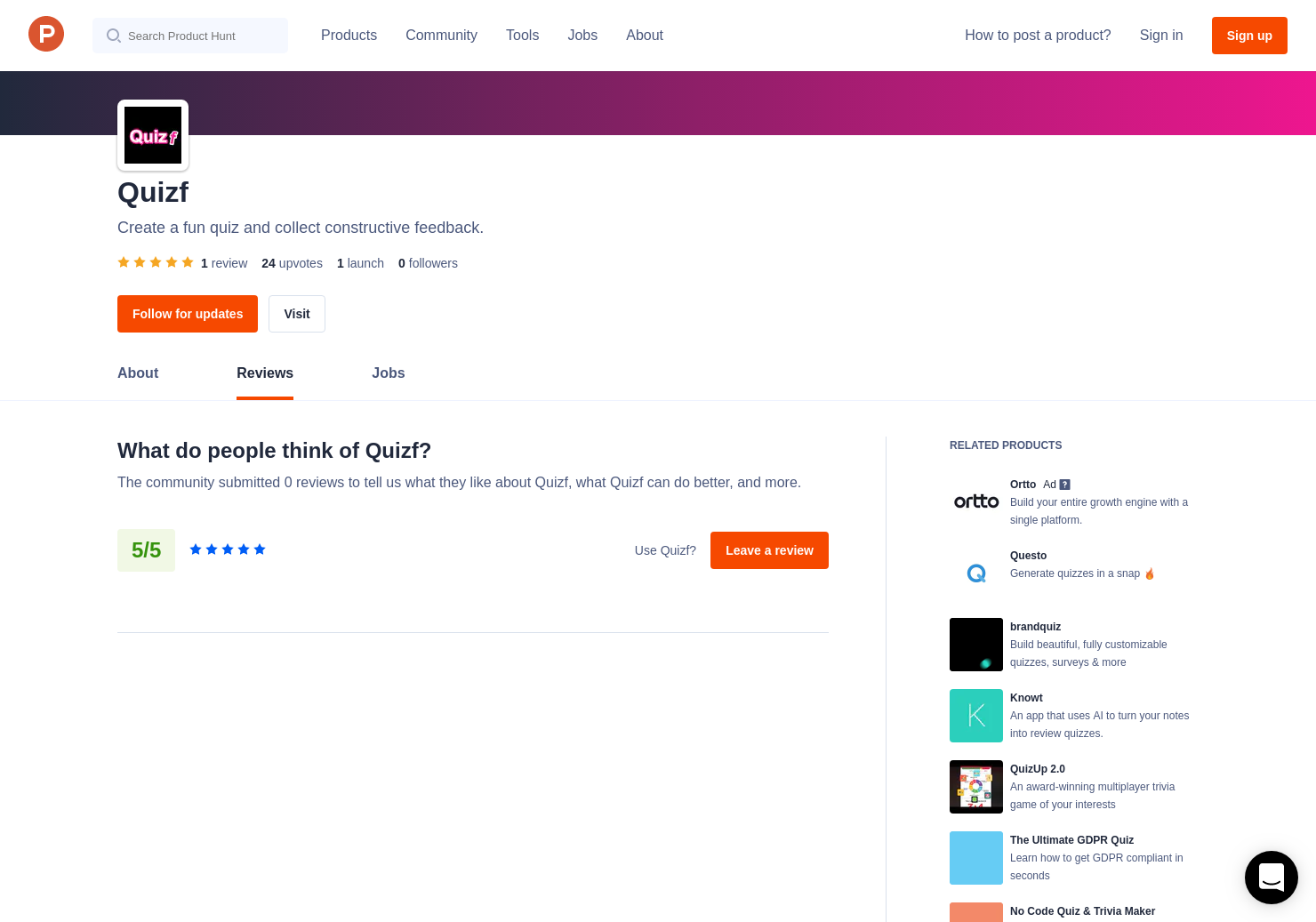 1 Quizf Reviews - Pros, Cons and Rating | Product Hunt