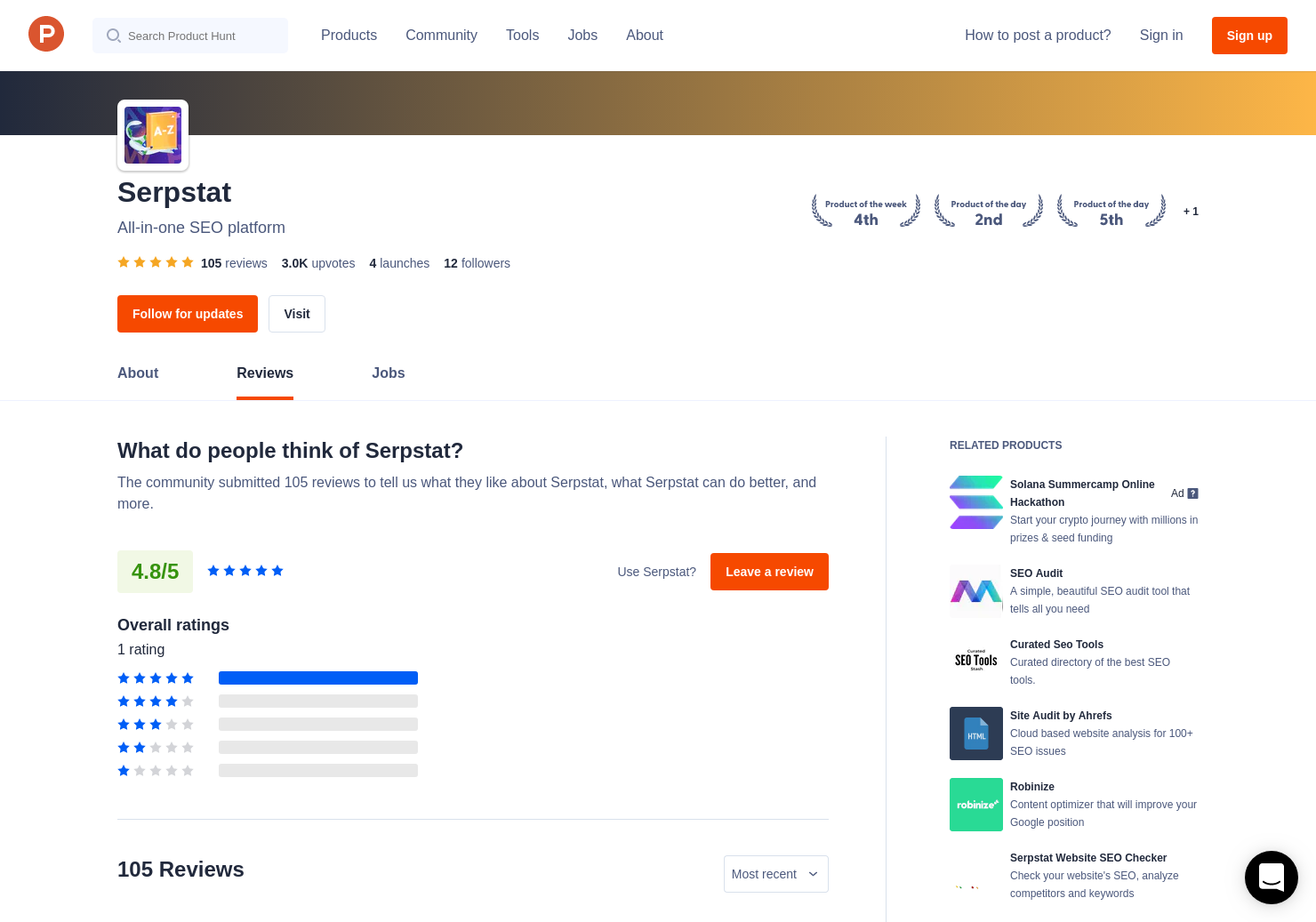 10 Serpstat Reviews - Pros, Cons and Rating | Product Hunt