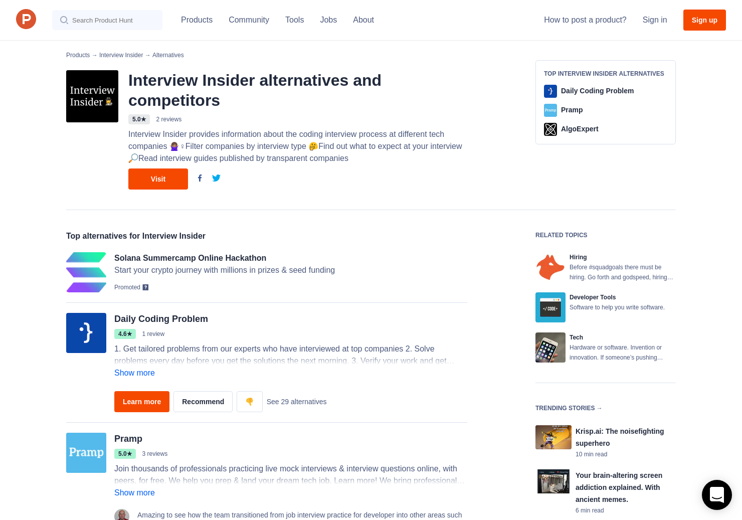 6 Alternatives to Interview Insider   Product Hunt
