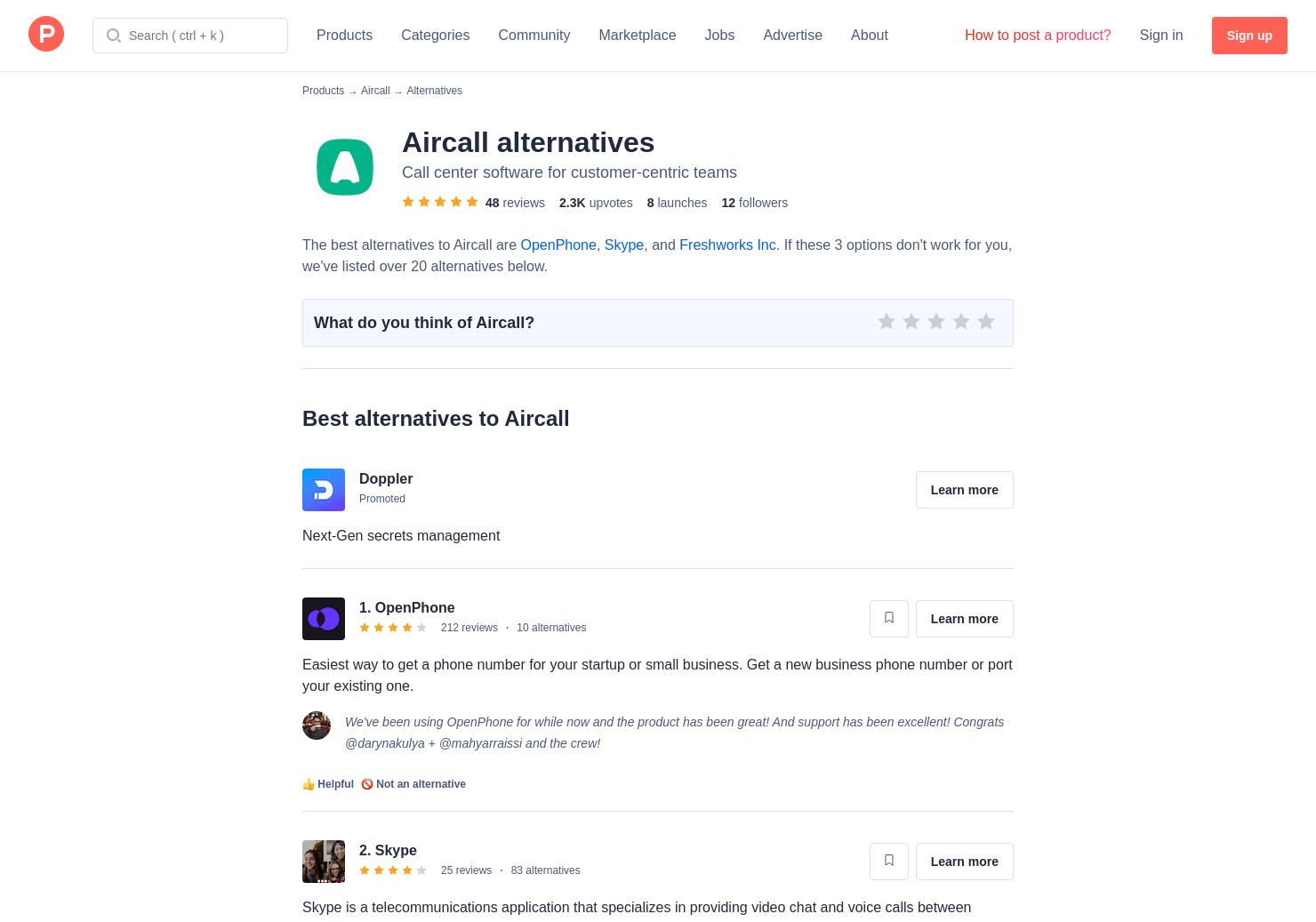 Aircall 2 alternatives to aircall | product hunt