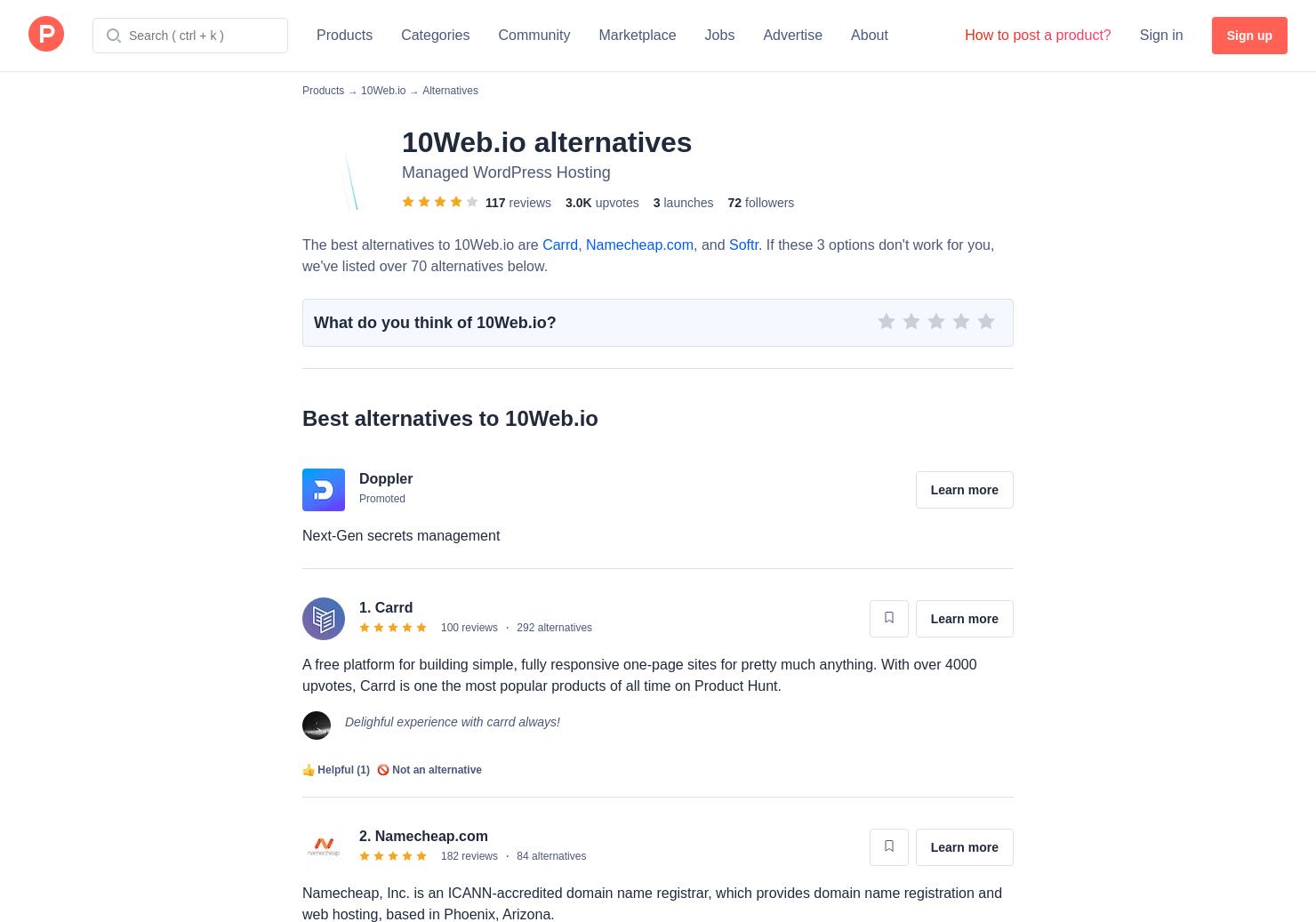 6 Alternatives to 10Web platform for WordPress | Product Hunt