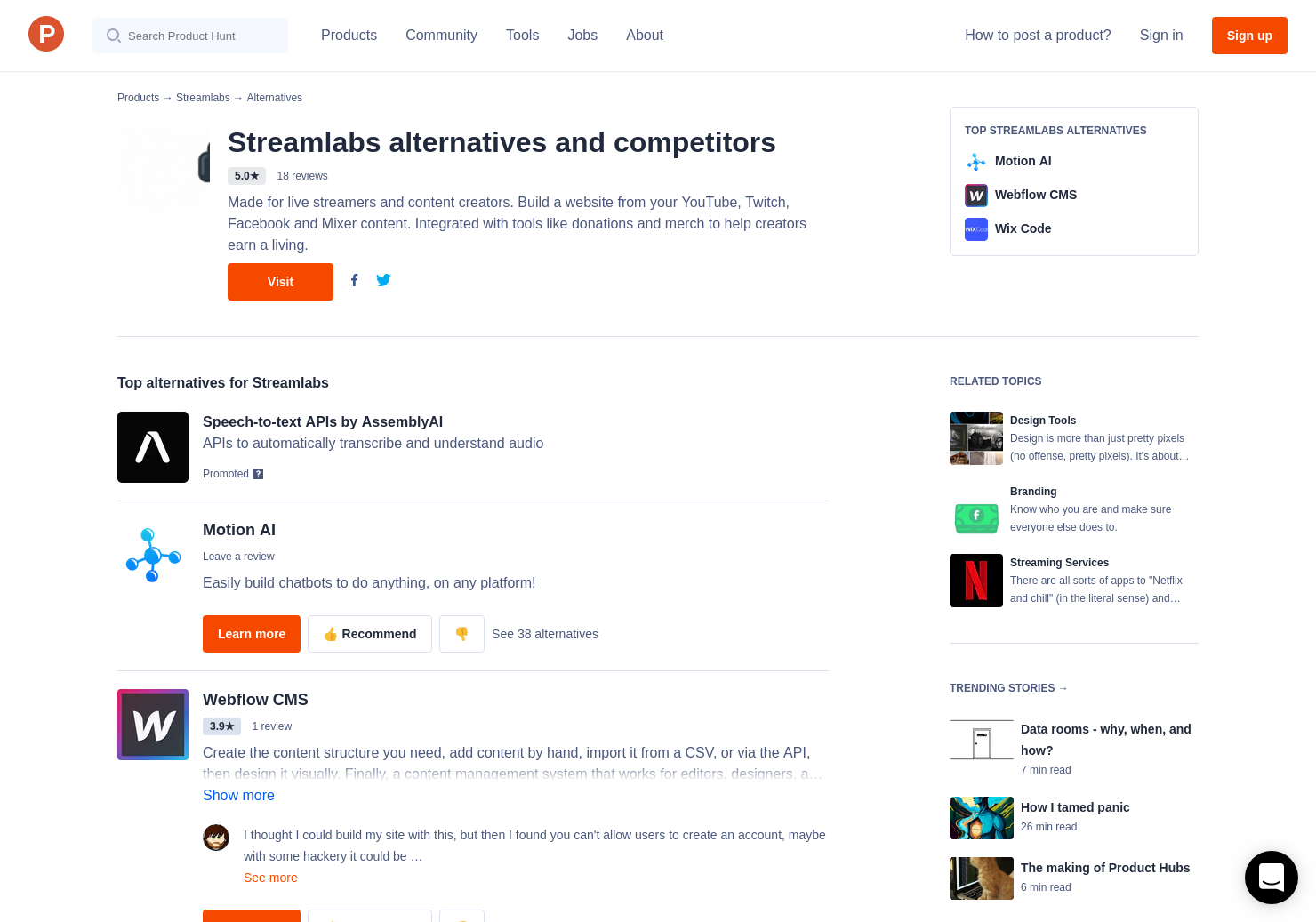 8 Alternatives to Streamlabs Creator Sites | Product Hunt