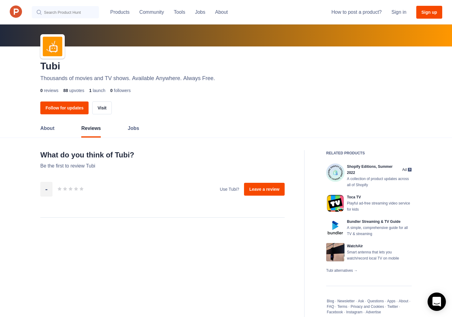 Tubi TV Reviews - Pros, Cons and Rating   Product Hunt