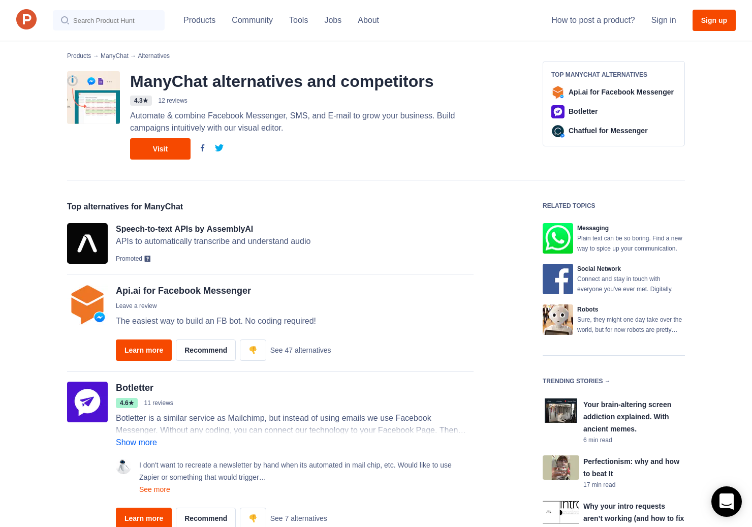 15 Alternatives to ManyChat for Facebook Messenger | Product