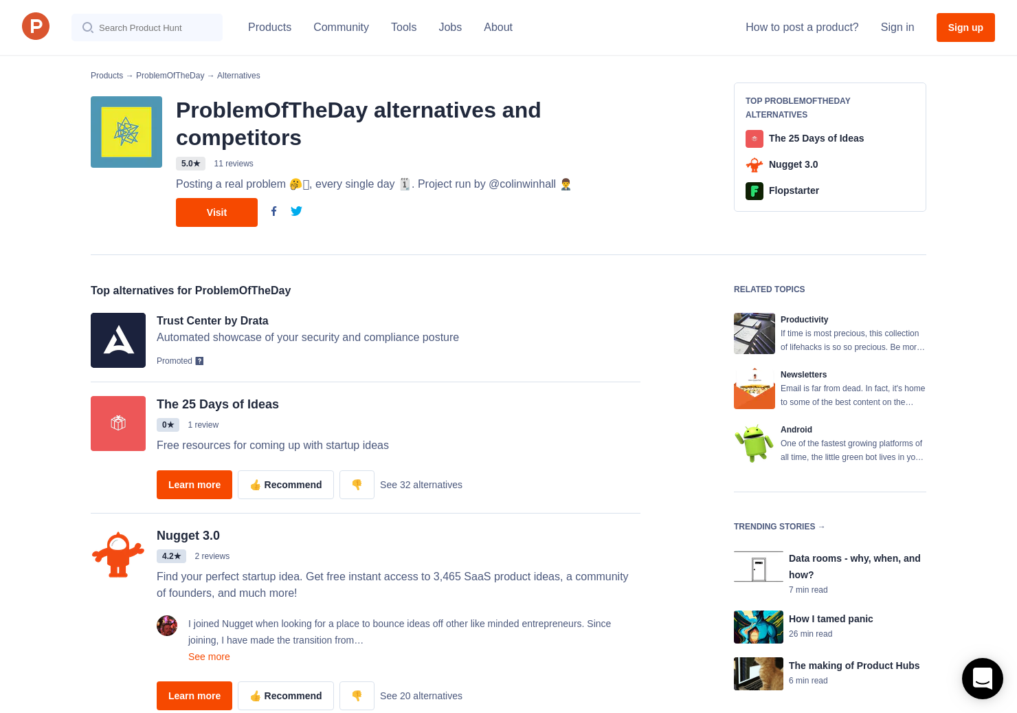 16 Alternatives to Problem of the day | Product Hunt