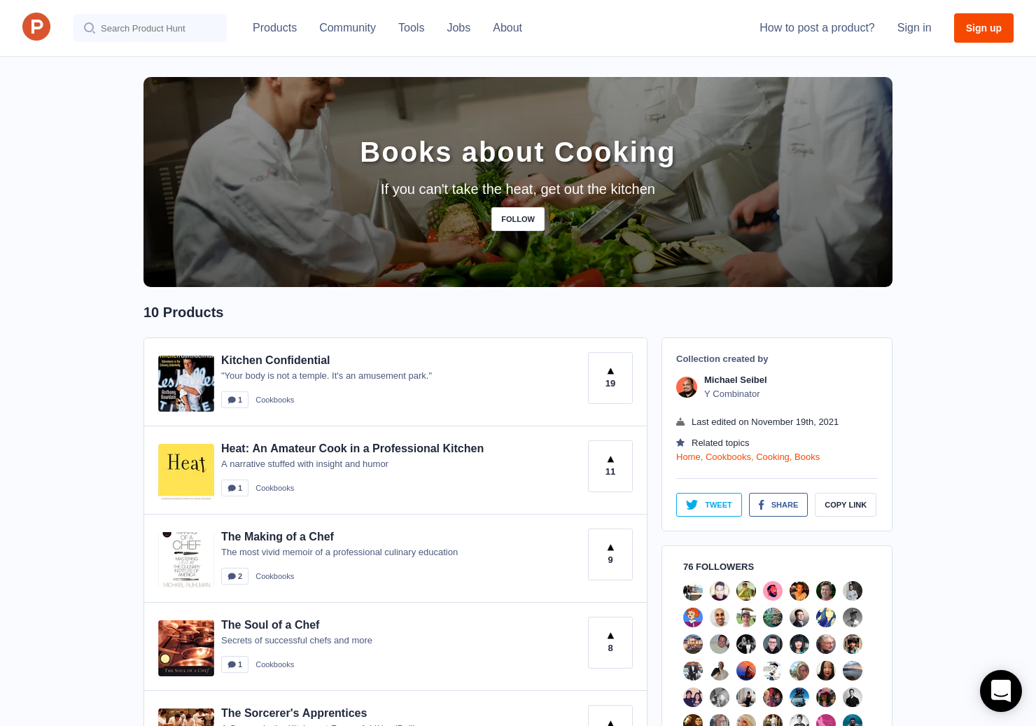 Books about Cooking by Michael Seibel - Product Hunt