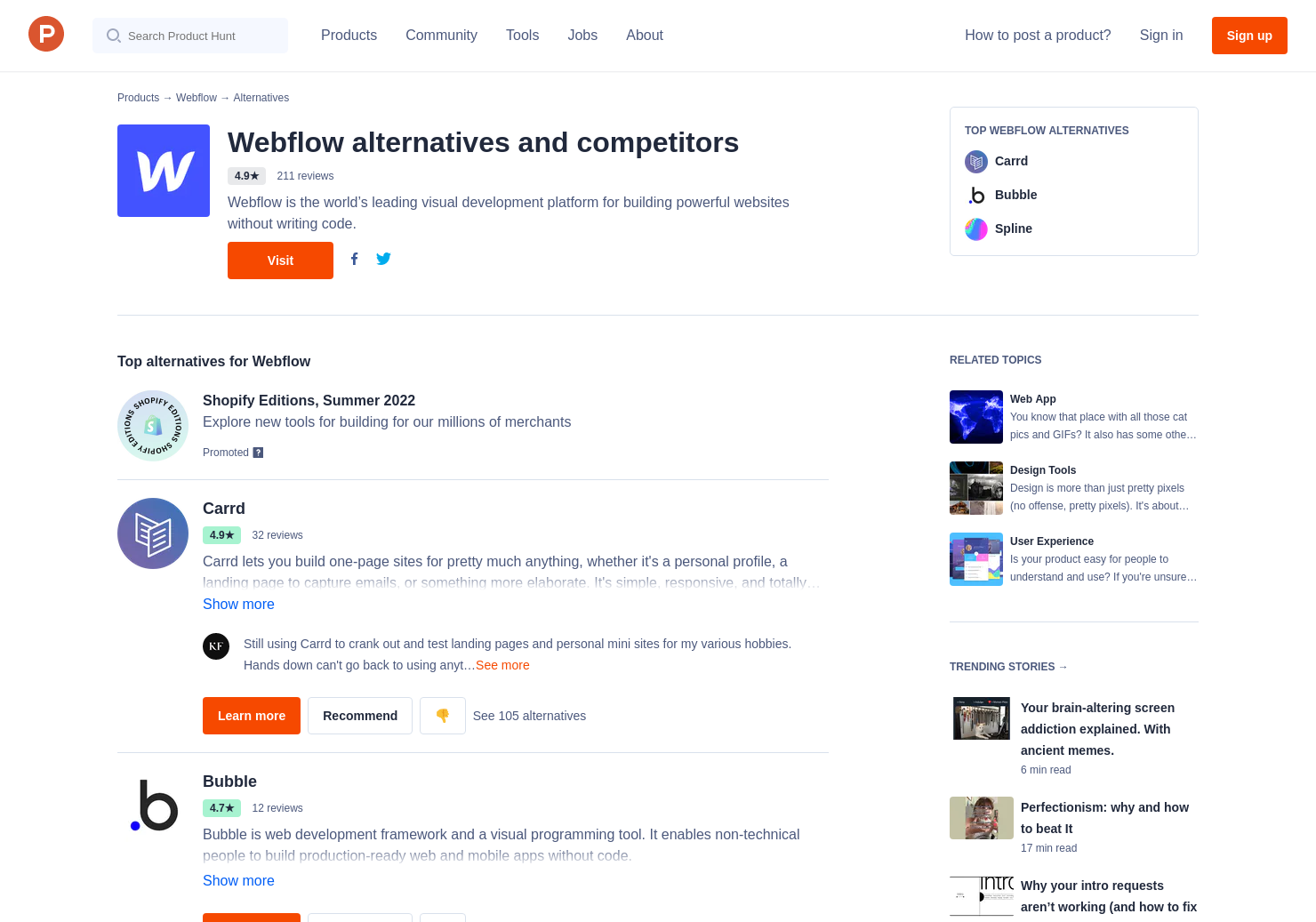 27 Alternatives to Webflow | Product Hunt