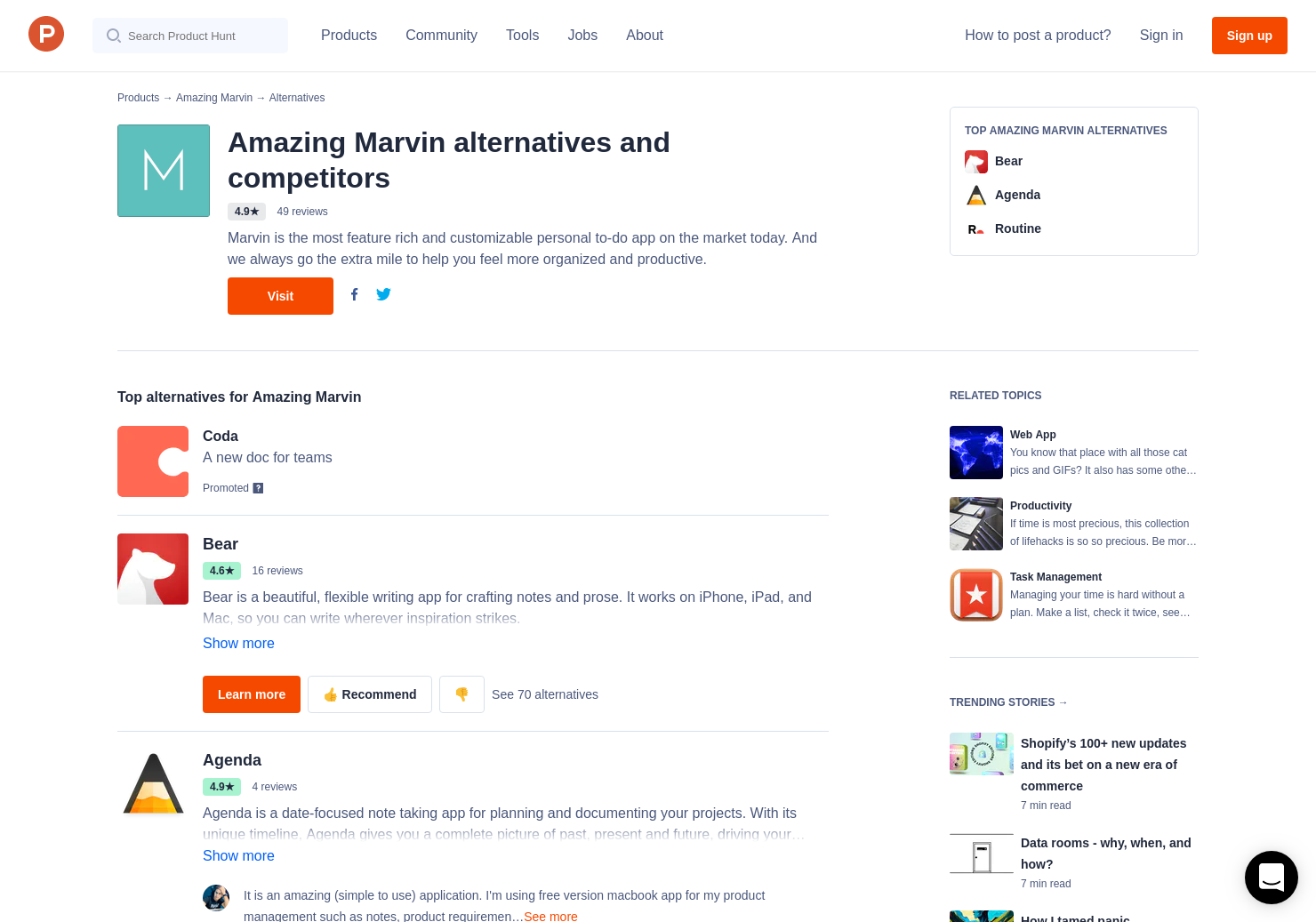 35 Alternatives to Amazing Marvin | Product Hunt