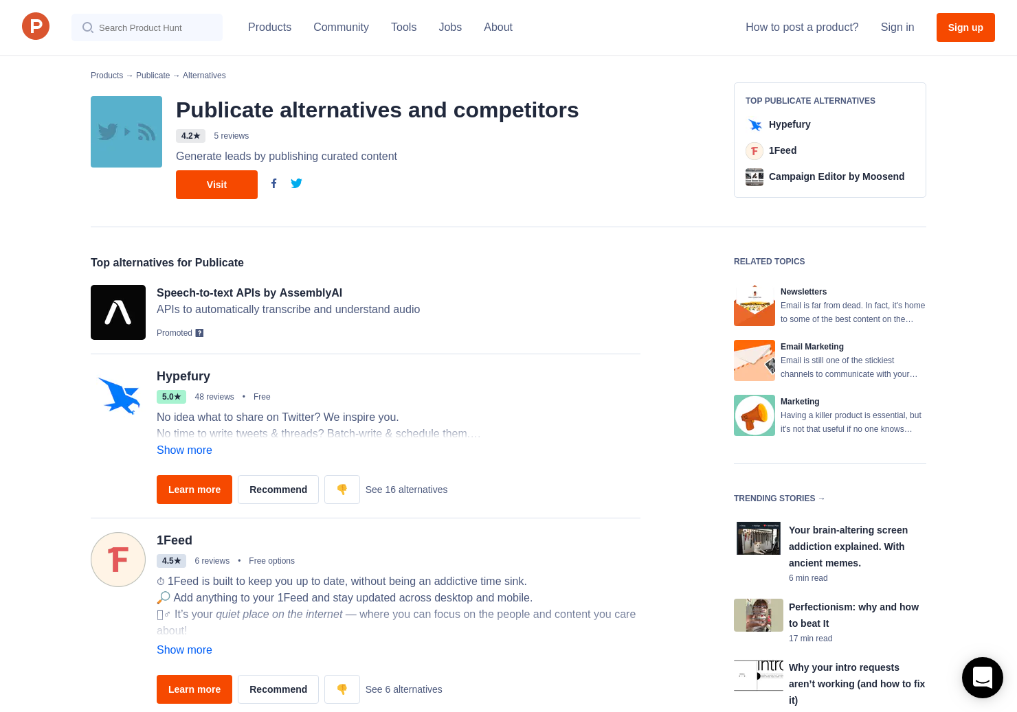 11 Alternatives to Free Twitter RSS Feed Generator | Product