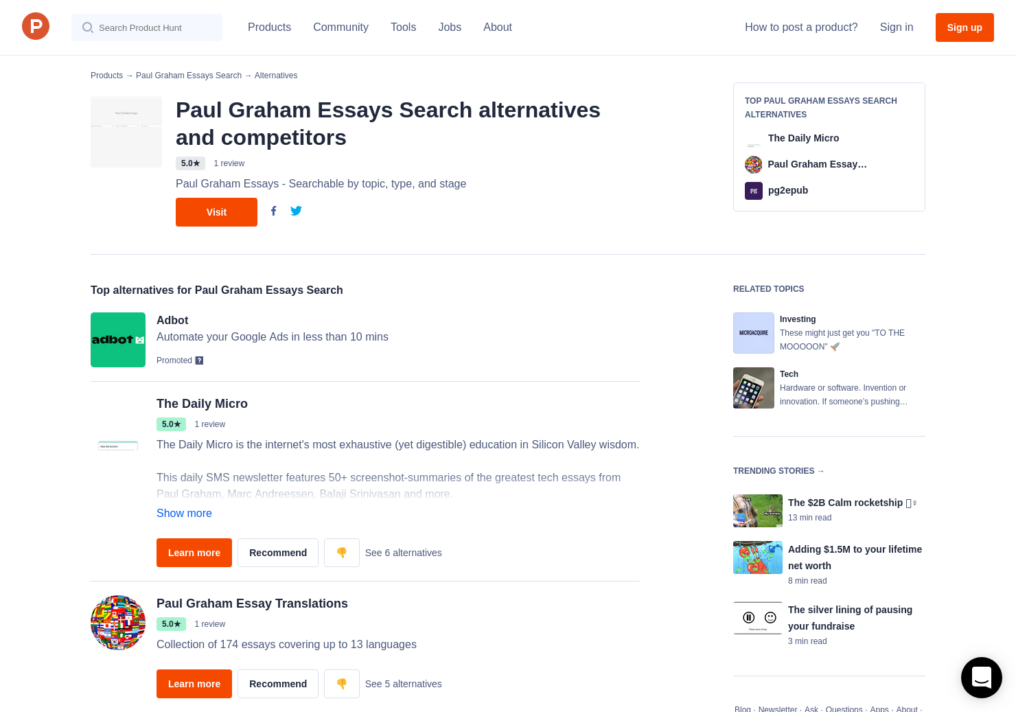 2 Alternatives to Paul Graham Essays Search - Product Hunt