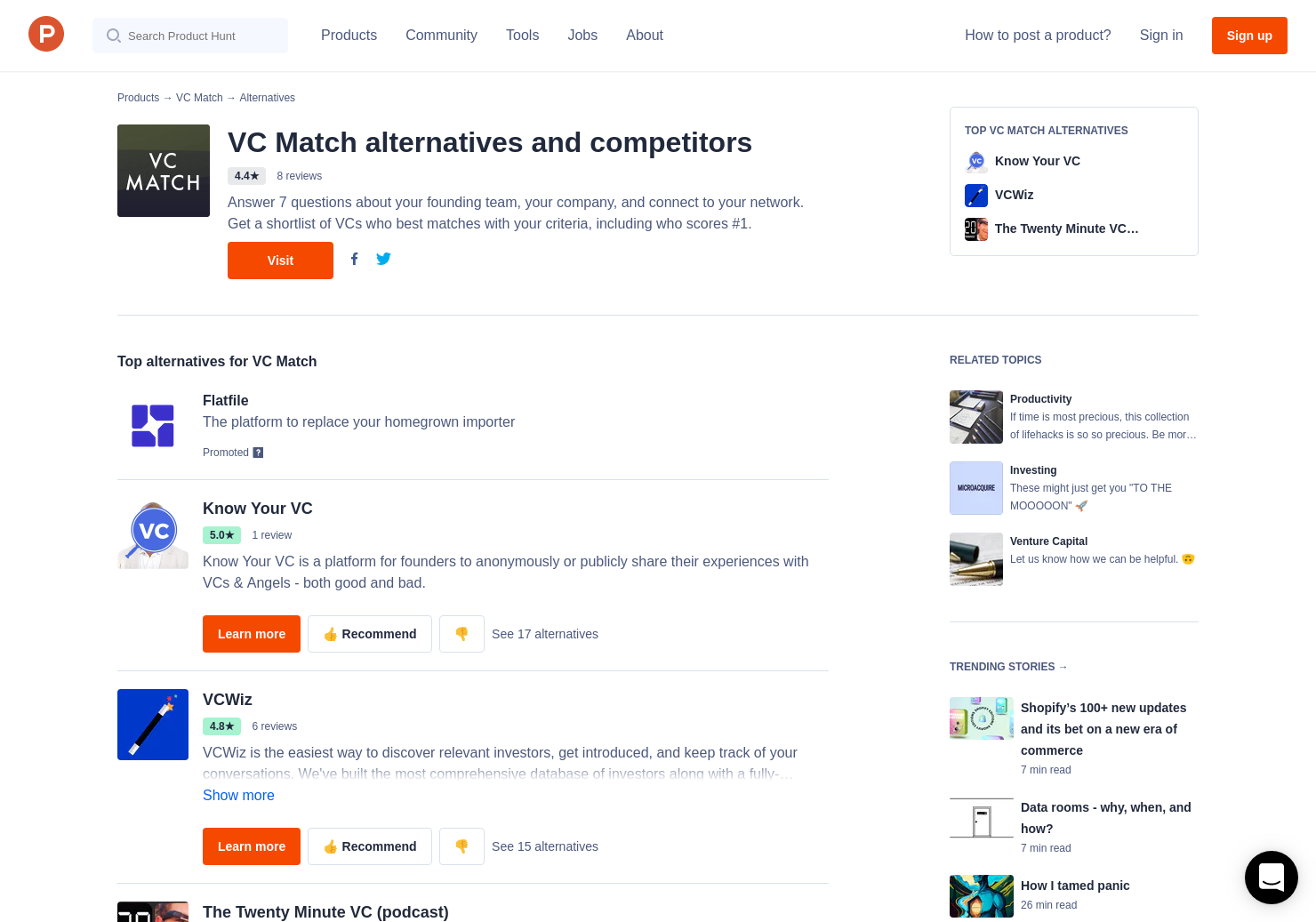 10 Alternatives to VC Match | Product Hunt
