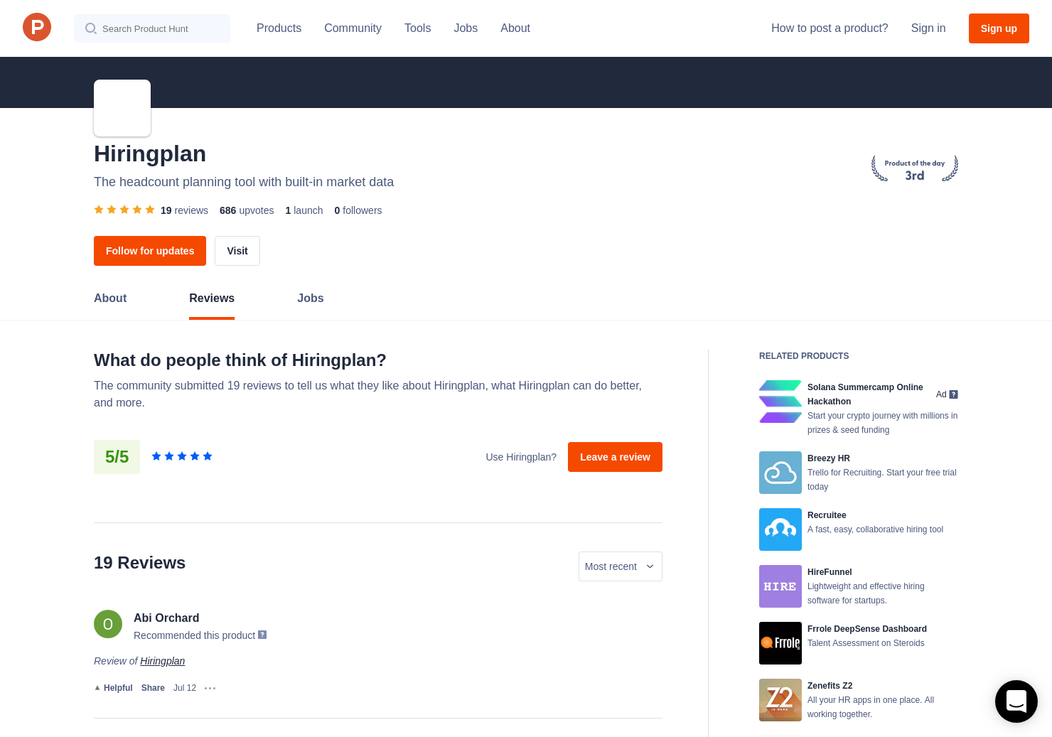 Andres Barreto's review of Hiringplan   Product Hunt