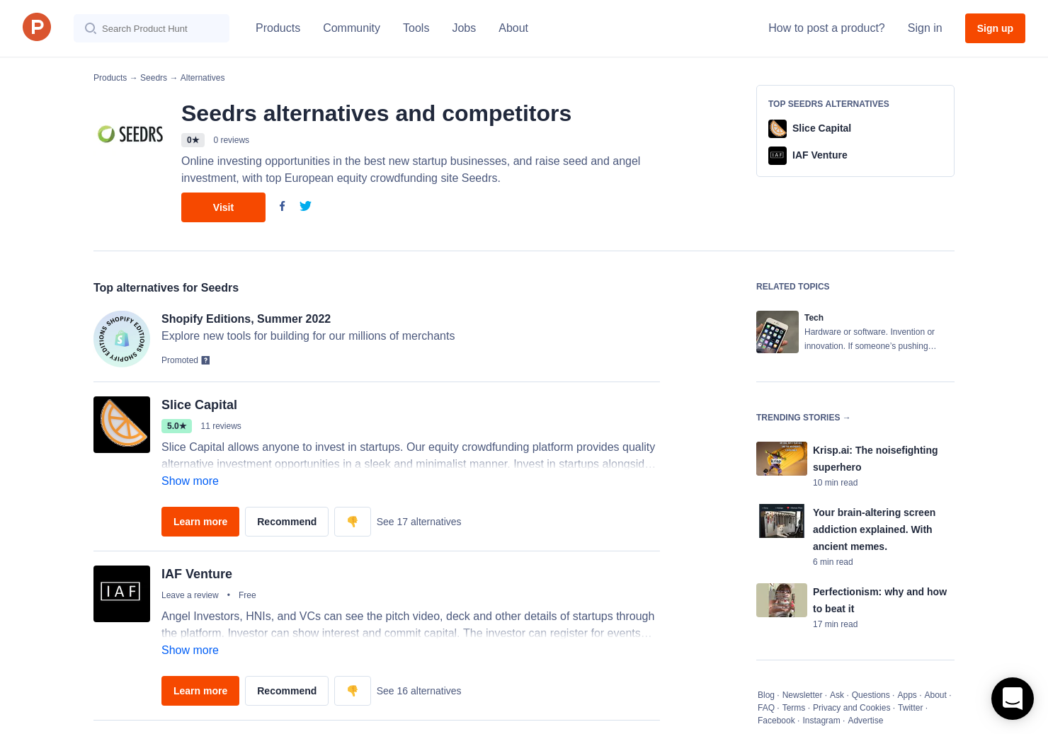 2 Alternatives to Seedrs | Product Hunt