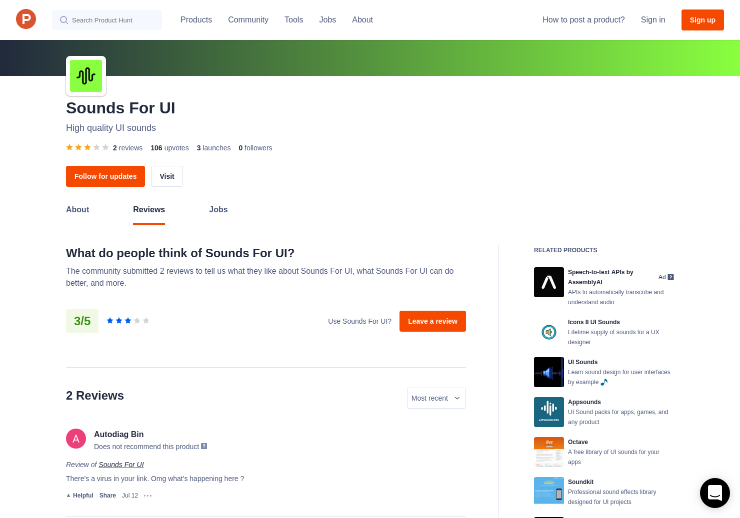 1 Sounds For UI Reviews - Pros, Cons and Rating | Product Hunt