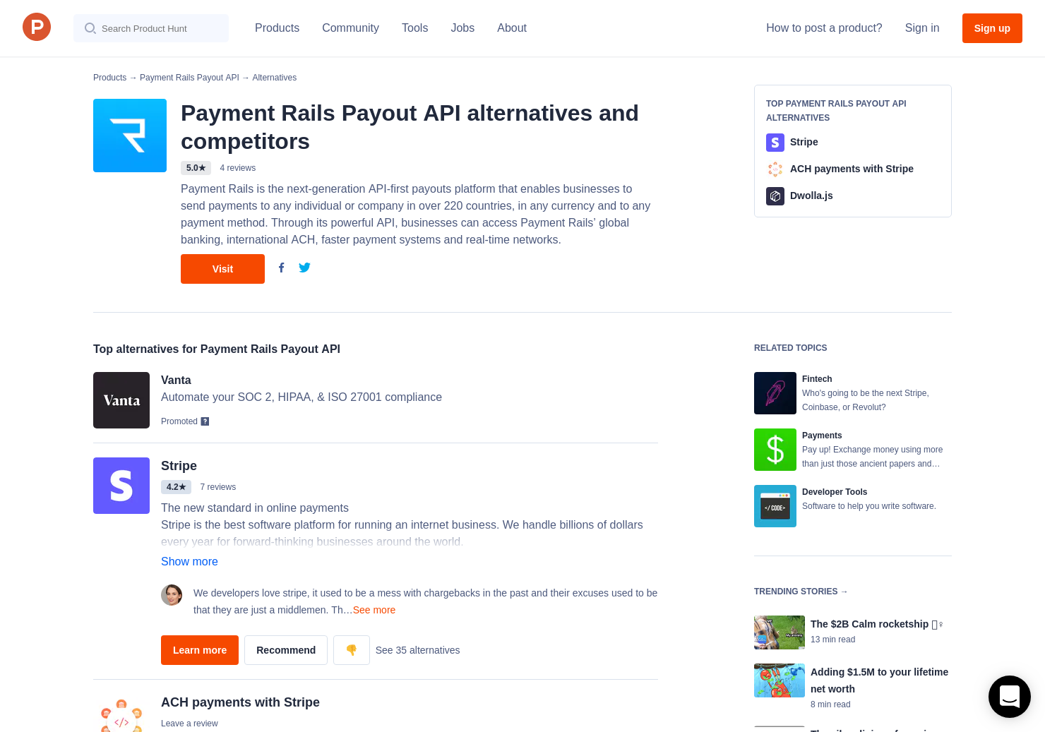 12 Alternatives to Payment Rails Payout API | Product Hunt