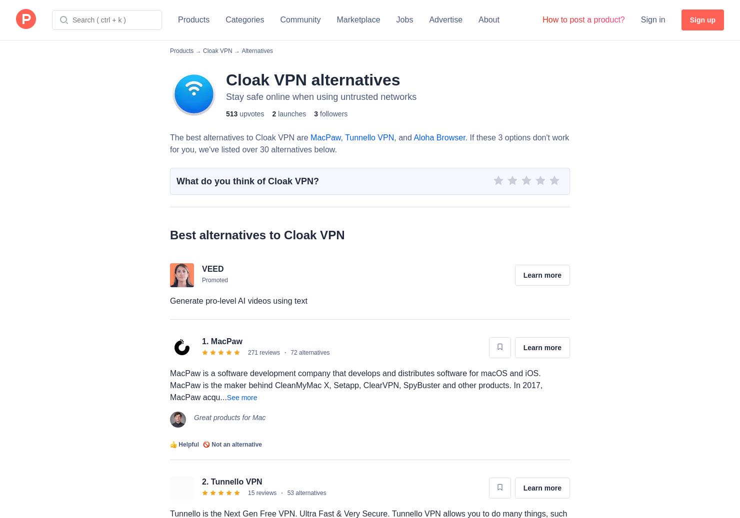 24 Alternatives to Cloak VPN   Product Hunt