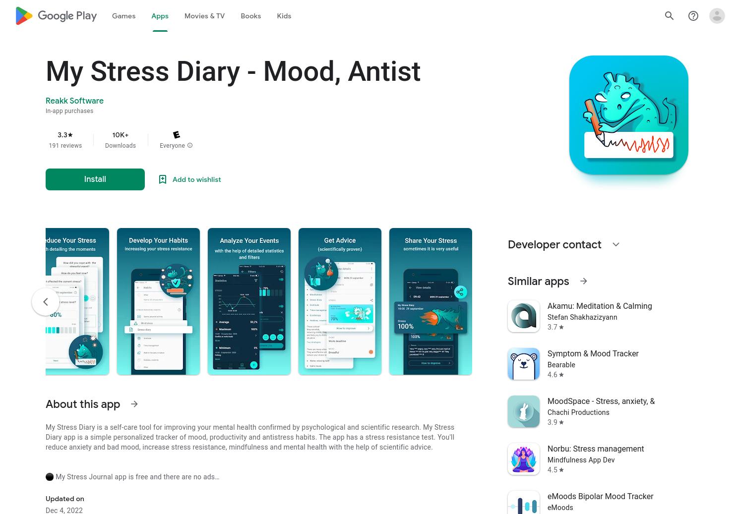 My Stress Diary - Mood, Habits Tracker