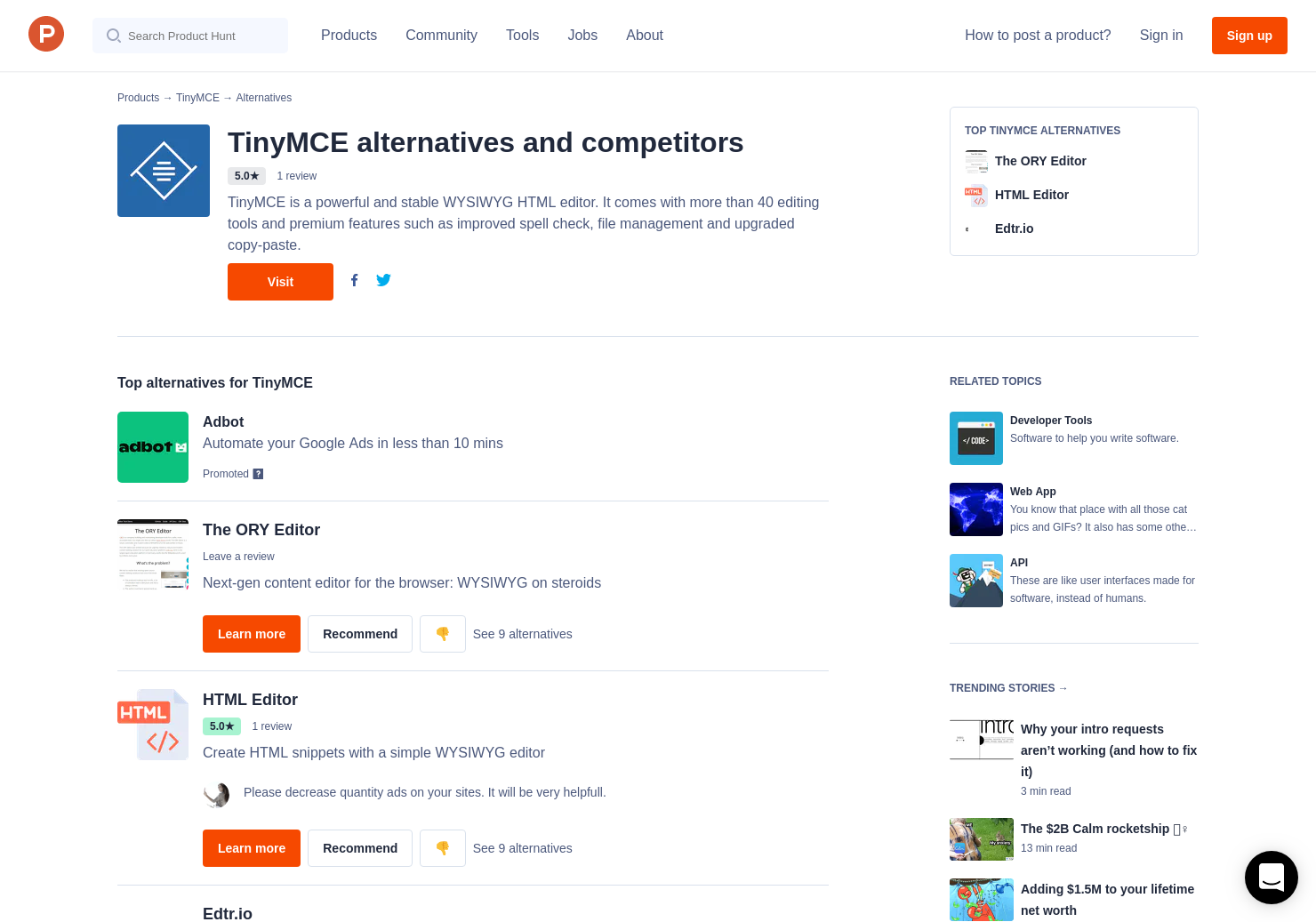 6 Alternatives to TinyMCE | Product Hunt