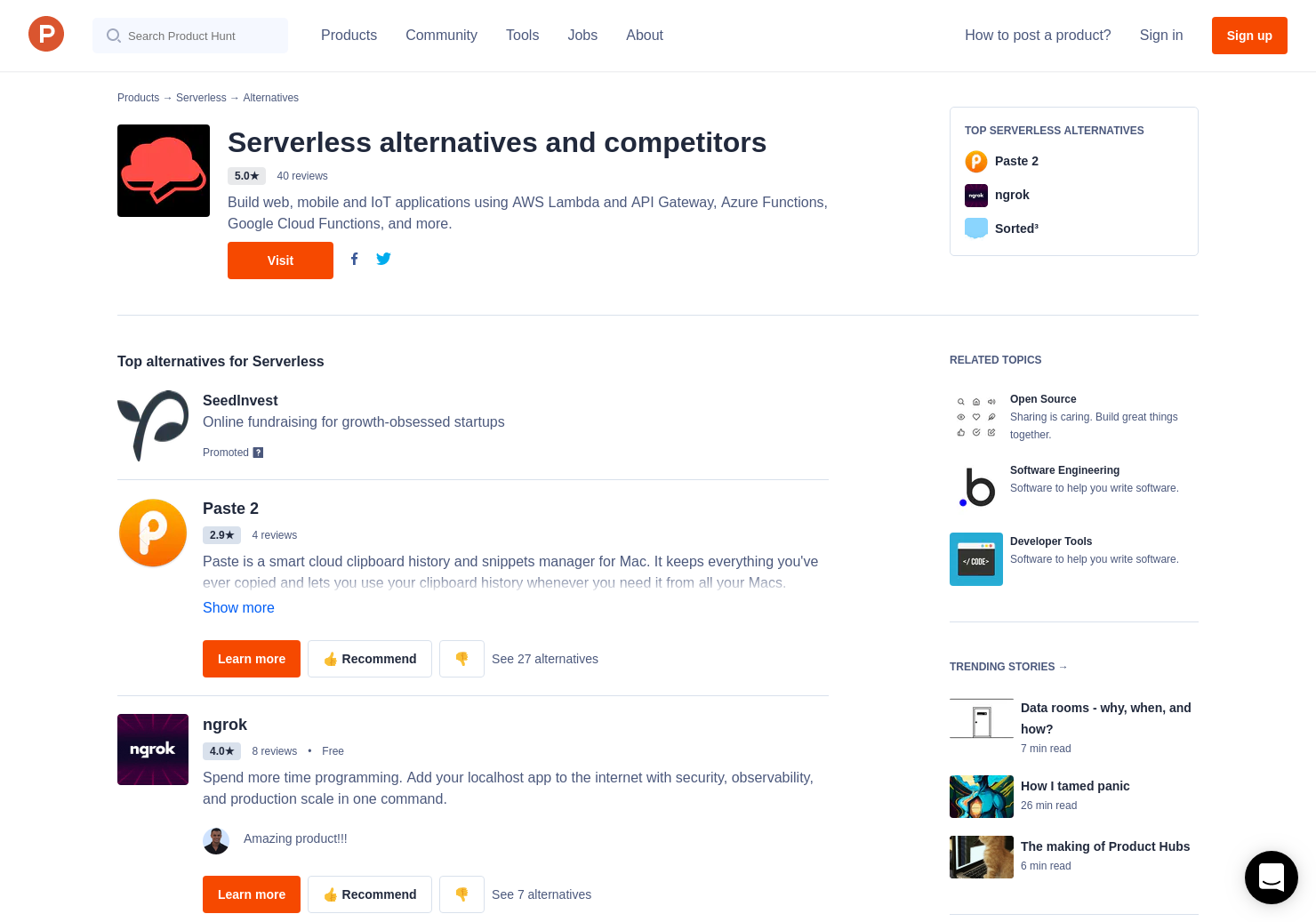 3 Alternatives to Serverless + Auth0 Webtasks   Product Hunt