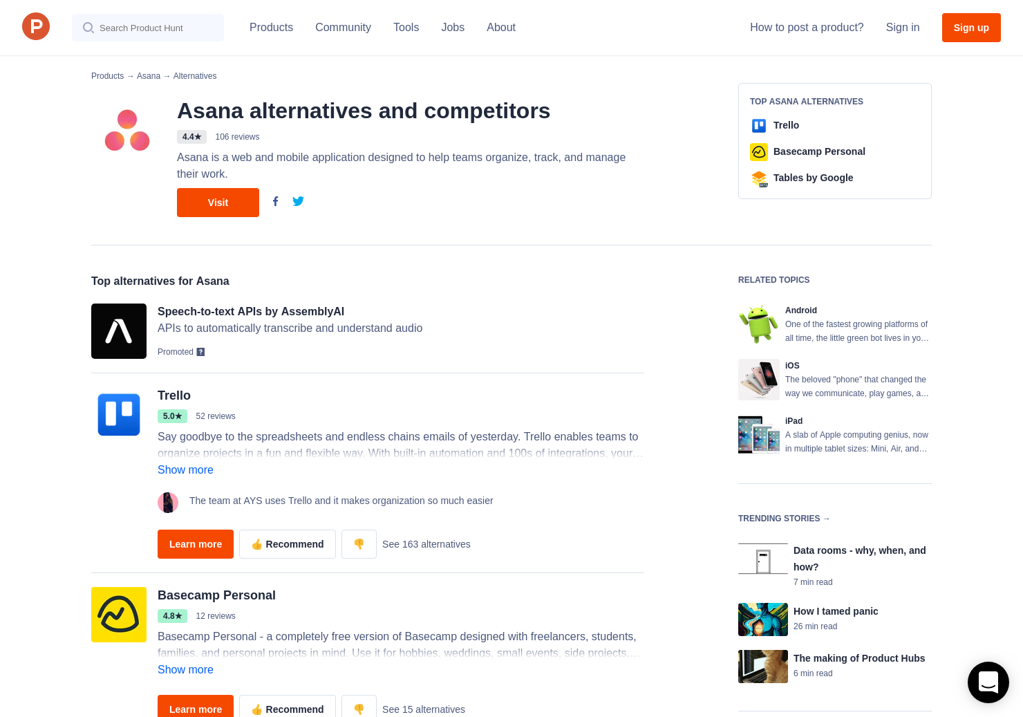 16 alternatives to asana timeline product hunt