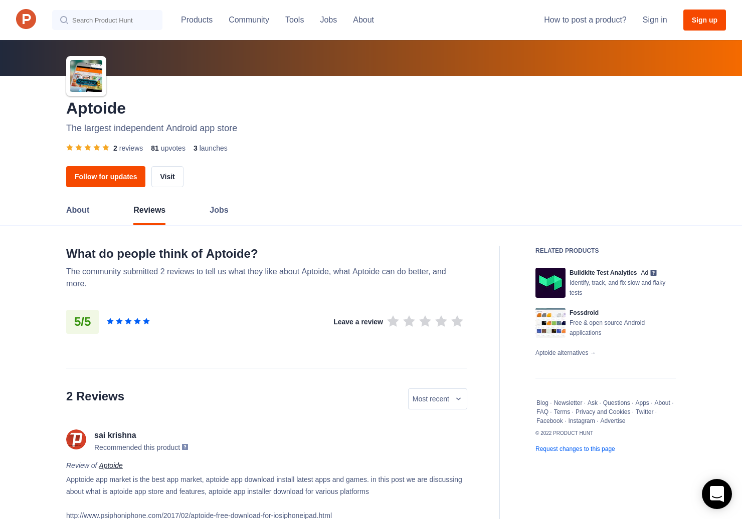2 Aptoide Reviews - Pros, Cons and Rating | Product Hunt
