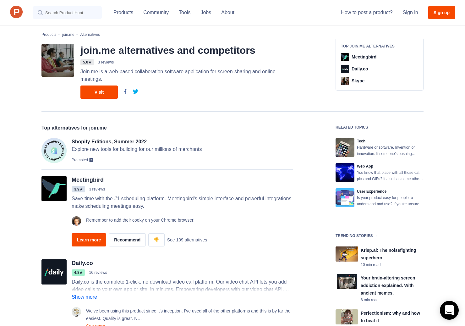 5 Alternatives to join me button | Product Hunt