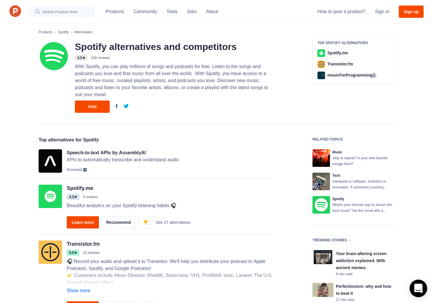 10 Alternatives to New Spotify Web Player | Product Hunt