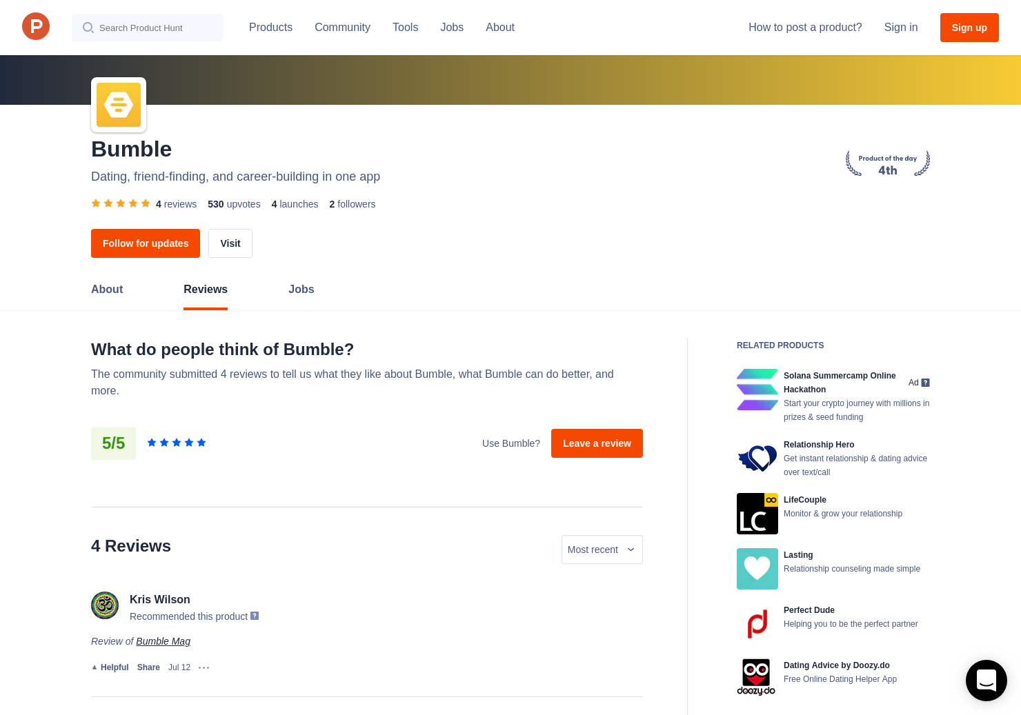 1 Bumble Reviews - Pros, Cons and Rating | Product Hunt