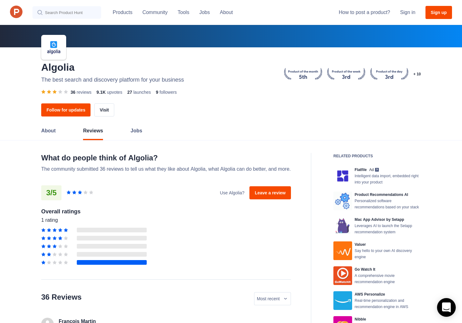 2 Algolia - Hosted Search API Reviews - Pros, Cons and