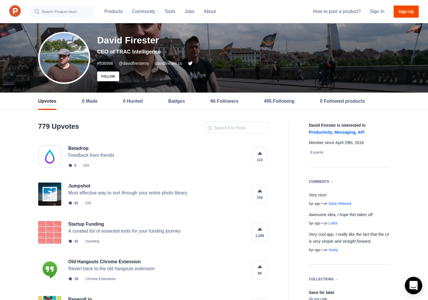 david firester s profile on product hunt